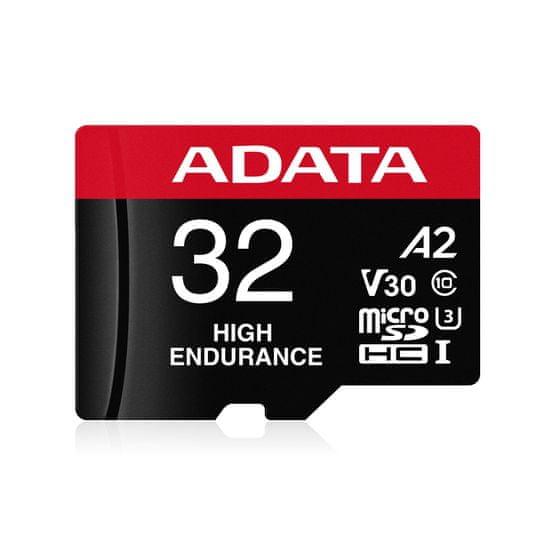 A-Data High Endurance microSDHC spominska kartica, 32 GB, V30, A2 + SD adapter