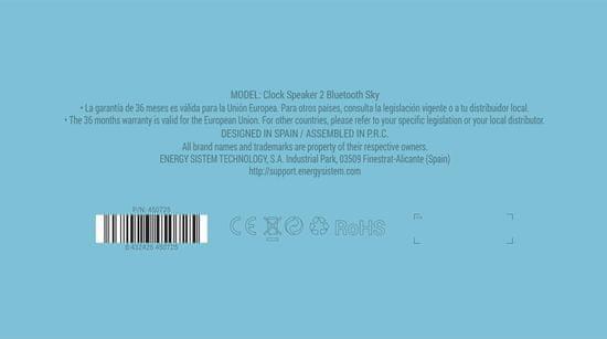 Energy Sistem Clock Speaker 2 Bluetooth Sky - rozbalené