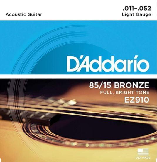 Daddario EZ910 85/15 Bronze Great American Acoustic Light .011-.052 struny na akustickou kytaru
