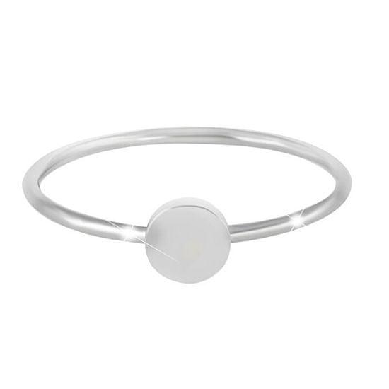 Troli Minimalistični jekleni prstan z okroglim ornamentom