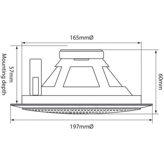 """Adastra 100V podhledový 5.25"""" reproduktor, 6W, kovový bílý"""