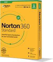 NORTON 360 STANDARD 10GB CZ pro 1 uživatele pro 1 zařízení na 12 měsíců BOX