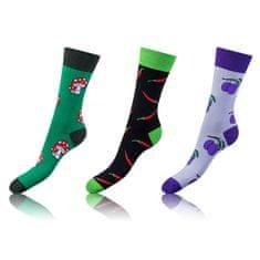 Bellinda set veselých ponožek CRAZY SOCKS 3 ks zelená/červená 35 - 38