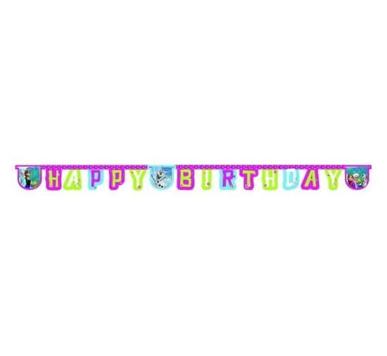 Párty girlanda - banner Frozen - narodeniny - Ľadové kráľovstvo - Happy Birthday - 215 cm