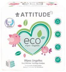 Attitude Wilgotne chusteczki bez zapachu - wygodny pakiet (3 x 72 szt.)