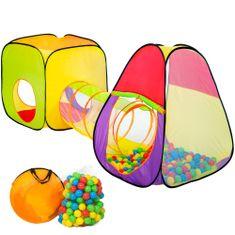 tectake Detský stan a hrací domček s tunelom s 200 loptičkami - barevná