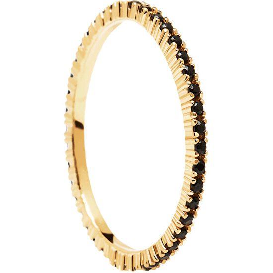 PDPAOLA Minimalistyczny pozłacany pierścionek z czarnymi cyrkoniamiBlack KluczowyGold AN01-348 srebro 925/1000