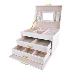 Troli Prostorna moderna škatla za nakit z ogledalom VJBB001 Bela