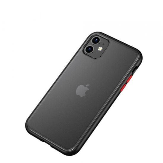 Ovitek za iPhone 12 Max, silikonski, s trdim zadnjim delom, črn