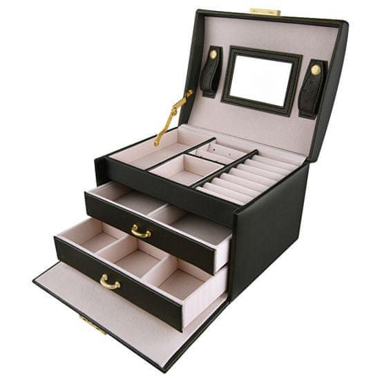 Troli Prostorna moderna škatla za nakit z ogledalom VJBB001 Črna