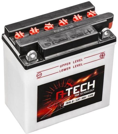 A-tech baterie 12V, YB9 L-B, 9Ah, 130A, konvenční 135x75x139 A-TECH (vč. balení elektrolytu) 550599