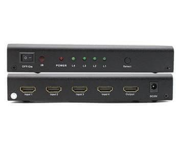 PremiumCord HDMI switch 4:1 kovový s dálkovým ovladačem a napájecím adaptérem khswit41b