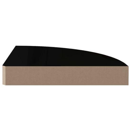shumee Kotne police 4 kosi visok sijaj črne 25x25x3,8 cm MDF