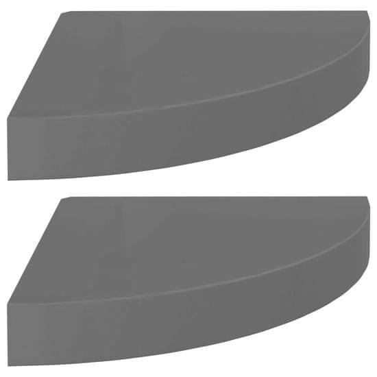 shumee Plávajúce rohové police 2 ks, lesklé sivé 25x25x3,8 cm, MDF