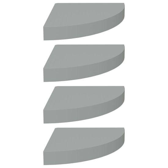shumee 4 db szürke MDF lebegő sarokpolc 25 x 25 x 3,8 cm