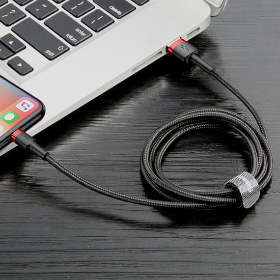 BASEUS Cafule Cable Trajna najlonska pletena žica USB / Lightning QC3.0 2.4A 0,5M črno-zlata