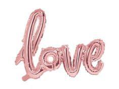 Balónek foliový LOVE - rose gold - růžovo zlatý - Valentýn - Svatba