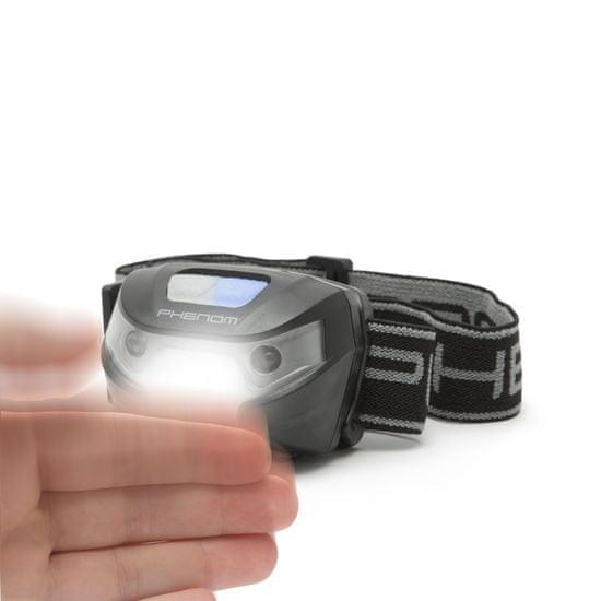 PHENOM USB COB LED polnilna naglavna svetilka z vklopom s senzorjem gibanja s 3 načini delovanja