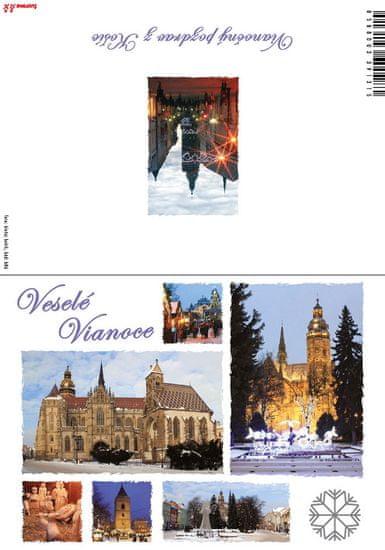 tvorme Zatváracia vianočná pohľadnica s obálkou - Košice, b86