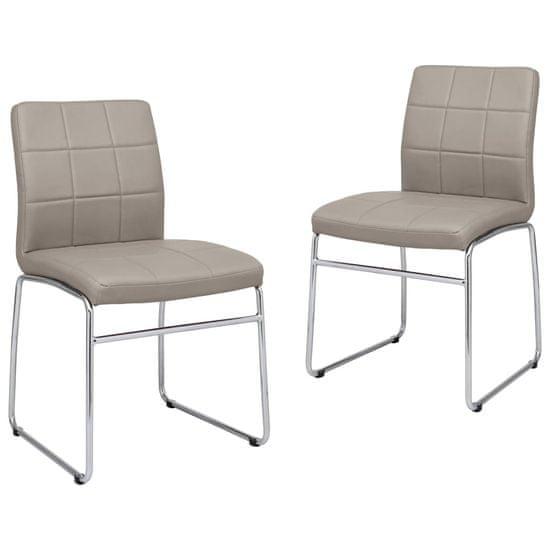 Greatstore Jedálenské stoličky 2 ks, kapučínová farba, umelá koža