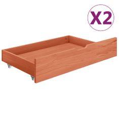 shumee Zásuvky pod posteľ 2 ks, medovo hnedé, borovicový masív