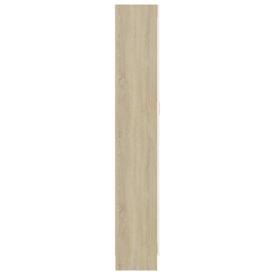 shumee Vitrina bela in sonoma hrast 82,5x30,5x185,5 cm iverna plošča