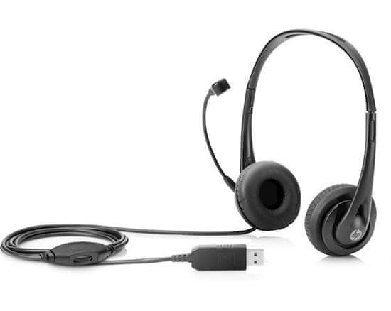 HP Stereo USB slušalke z mikrofonom, črne