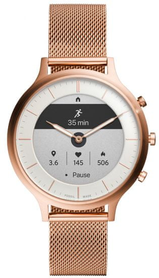 Fossil Hybrid Smartwatch HR Charter Rose Gold-Tone Stainless Steel Mesh