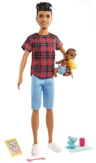 Mattel lalka Barbie Niania Ken z niemowlakiem