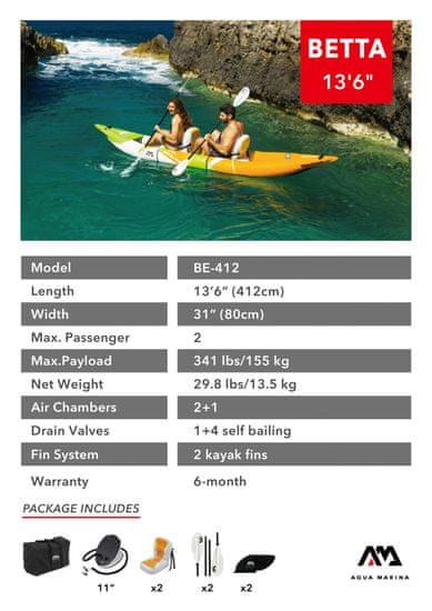 Aqua Marina Betta-412 kajak, za 2 osebi, 4,12 m