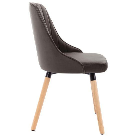 shumee Krzesła stołowe, 6 szt., ciemnoszare, aksamitne