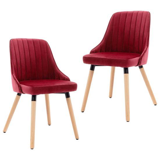 shumee Jedálenské stoličky 2 ks vínovo-červené zamat