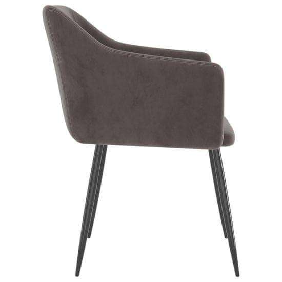 shumee Jedilni stoli 2 kosa svetlo siv žamet