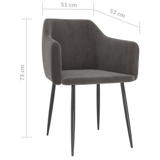 shumee Krzesła stołowe, 6 szt., ciemnoszare, obite aksamitem