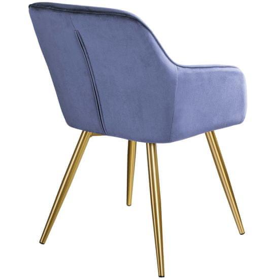 tectake Židle Marilyn v sametovém vzhledu - modrá/zlatá