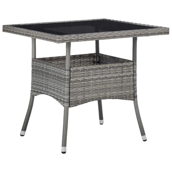 shumee 3-dielna sada záhradného nábytku zo sivého poly ratanu a skla
