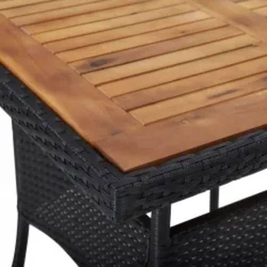 shumee 3-dielna súprava záhradného nábytku čierny ratan a akácia