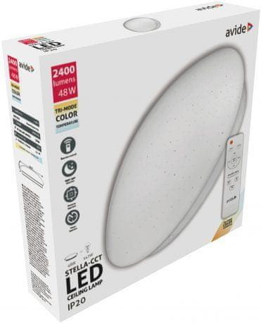 Avide LED plafoniera z daljincem Stella CCT 48W premer 485mm (24+24) 3000K - 6500K