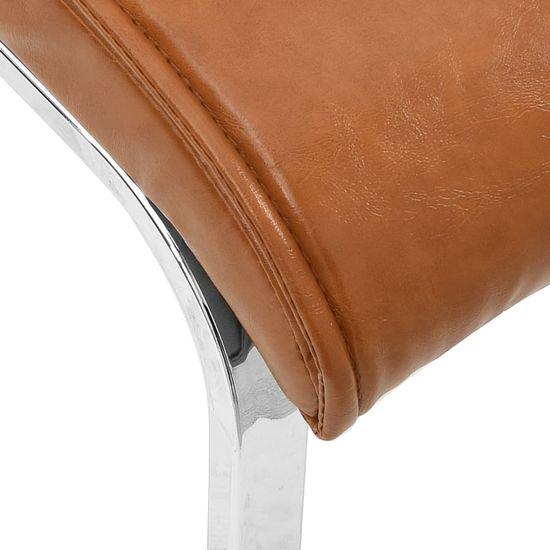 Greatstore Nihajni jedilni stoli 6 kosov sijoče rjavo umetno usnje