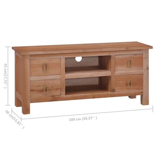 shumee Szafka pod TV, 100x30x45 cm, lite drewno mahoniowe
