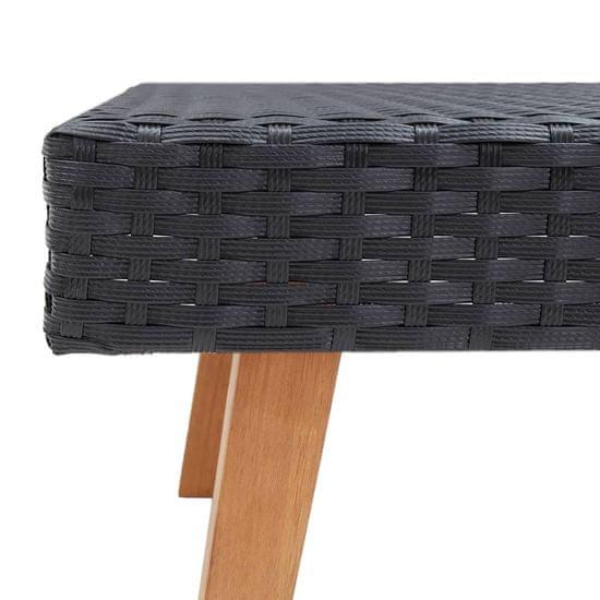 shumee Vrtna klubska mizica poli ratan črna