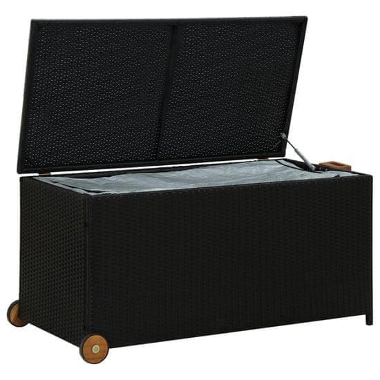 shumee Vrtna škatla za shranjevanje črna 130x65x115 cm poli ratan