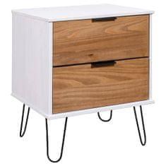 shumee Nočný stolík bledé drevo a biela 45x39,5x57 cm borovicový masív