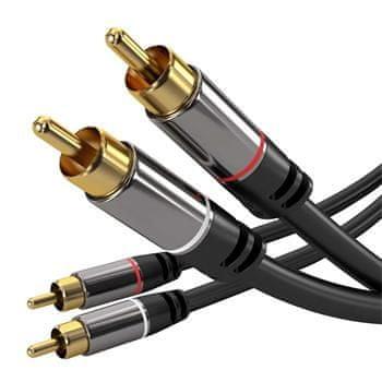 PremiumCord HQ tienený kábel 2× CINCH-2 × CINCH Male/Male s kvalitnými zastreknutými kovovými konektormi 3 m kjqccmm3