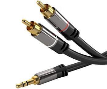 PremiumCord HQ tienený kábel Stereo Jack 3,5 mm-2 × CINCH Male / Male s kvalitnými zastreknutými kovovými konektormi 1,5 m kjqcin015