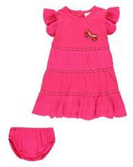 Boboli 242110 dekliški komplet obleke in spodnjih hlač, roza, 92