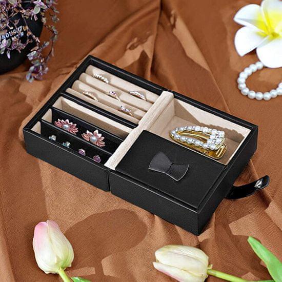 Troli Ekskluzivna črna škatla za nakit z ogledalom JBC126BK