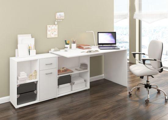 Meblocross Beat L rohový písací stôl biela / biely lesk