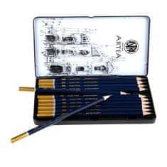 Astra ARTEA Umelecké skicovacie ceruzky v plechovej krabičke, sada 12ks, 8B - 3H, 206120013