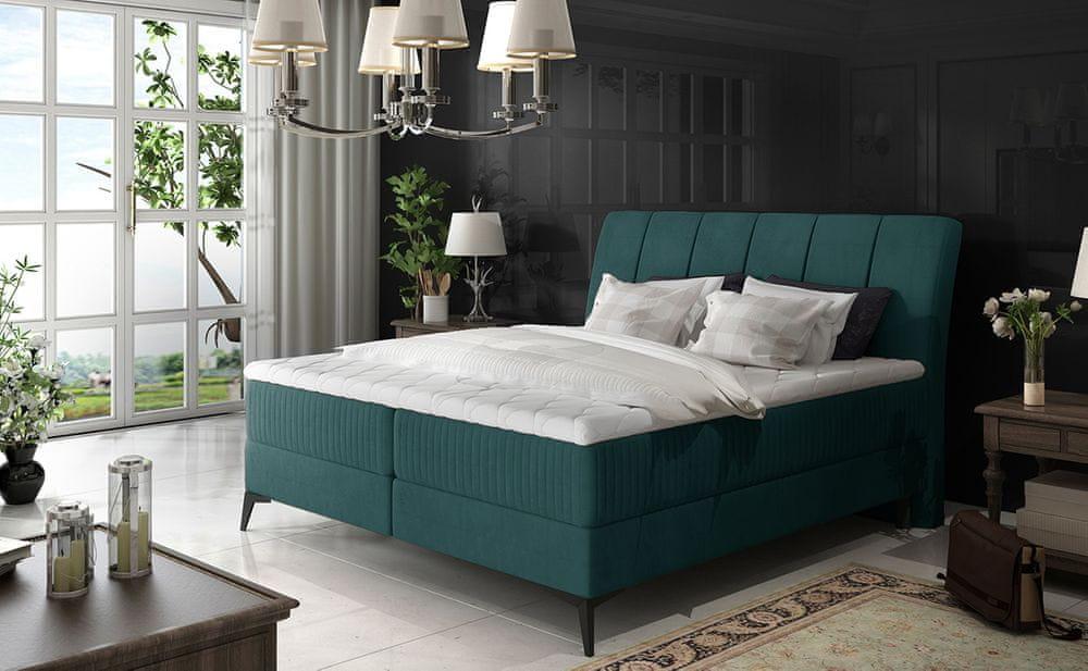 nabbi Altama 160 čalúnená manželská posteľ s úložným priestorom tyrkysová